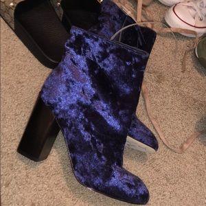Rebecca minkoff booties blue suede sz 8